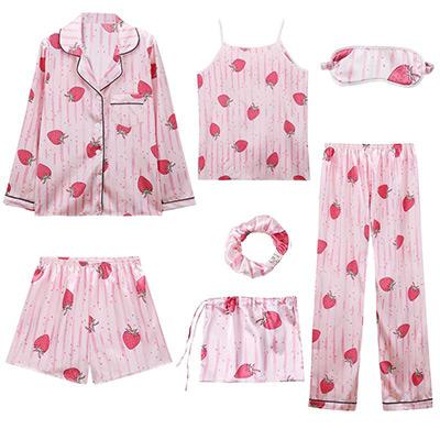 Pink/Strawberry, L, pyjama set for women, 7-pieces, Pyjamasset 7 delar i dammodell, ,  (1 av 1)
