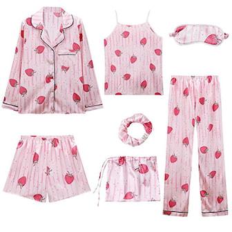 Rosa/Jordbær, L, pyjama set for women, 7-pieces, Pysjamassett for dame 7-pack, ,