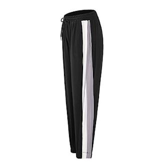 Grå, S, Loose fit womens pants stripe side, Byxor med ränder, ,