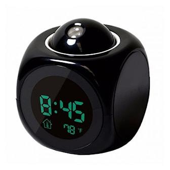 Svart, LCD Digital Projection Voice Talking Alarm Clock, Väckarklocka med projektion, ,