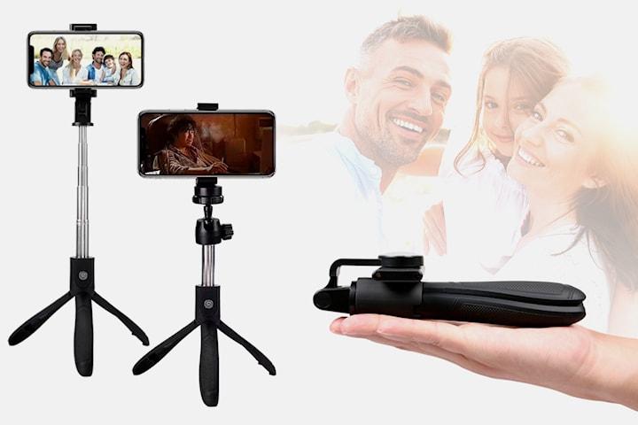 Selfiepinne med tripod-stativ och fjärrkontroll