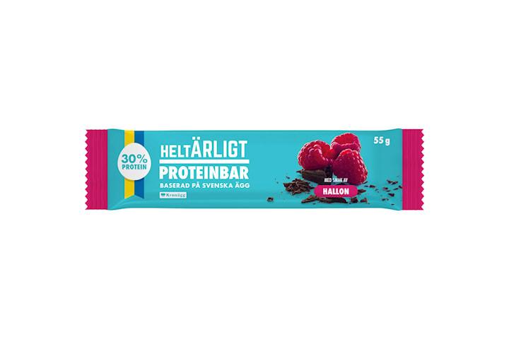 Helt Ärligt, Proteinbar på Ägg - Hallon (20x55g)