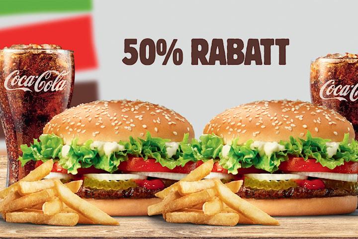 Burger King Meal inkl. Plusmeny, köp 2 betala för 1