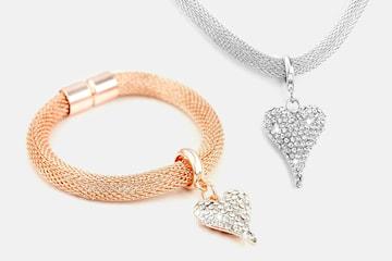 Halsband, armband eller set med Swarovski-kristaller