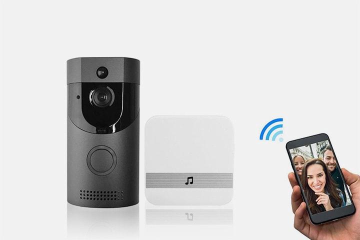 Dörrklocka med övervakningskamera och mottagare