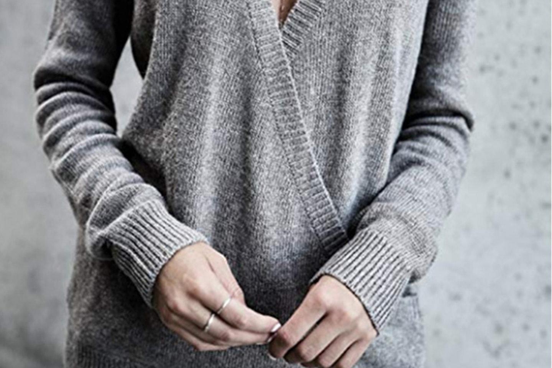 V-neck genser i kashmirmiks