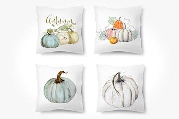 Kuddfodral med halloween-design 4-pack