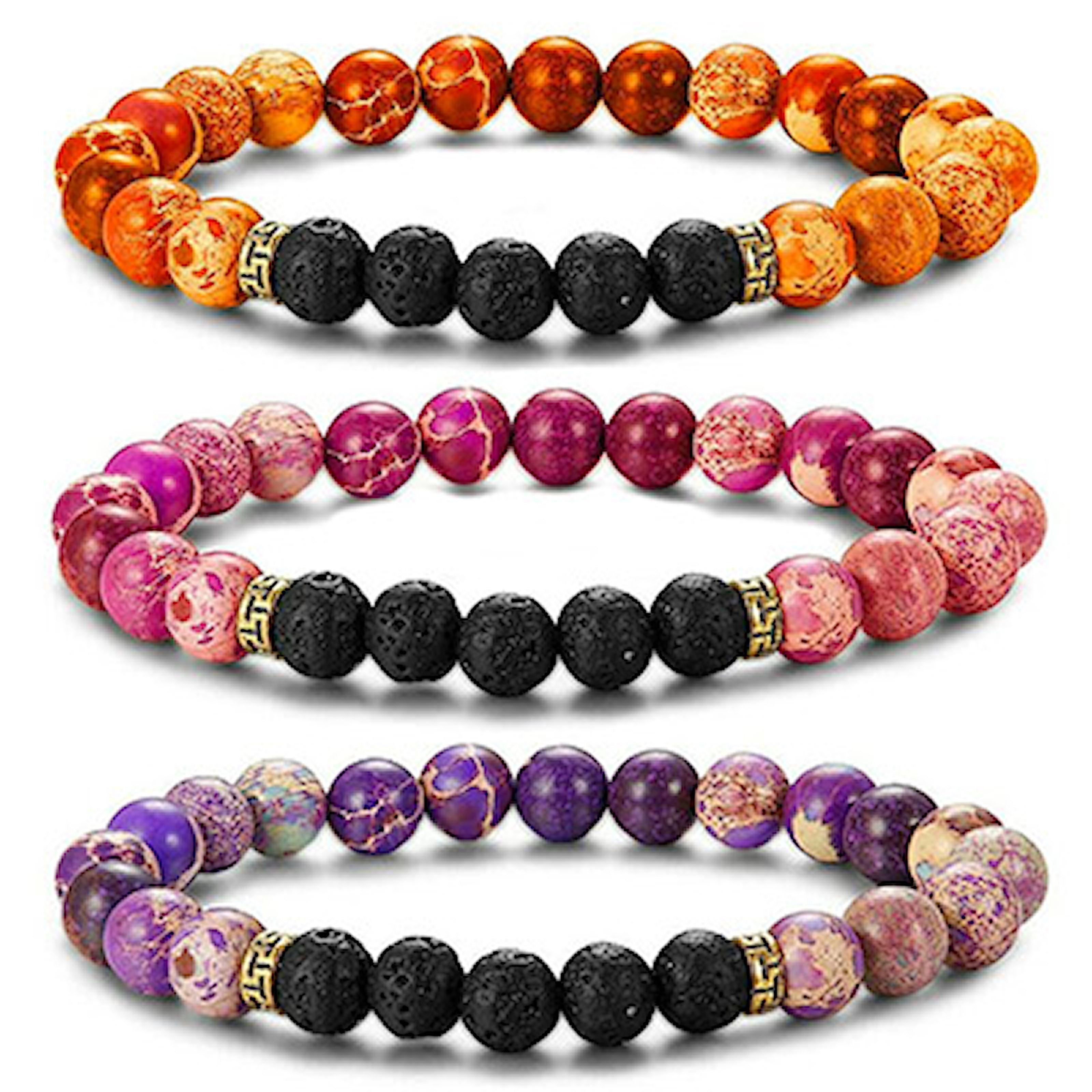 2, Bracelet Volcanic Stone, 3-Pcs, 3-pack armband med vulkaniska stenar, ,