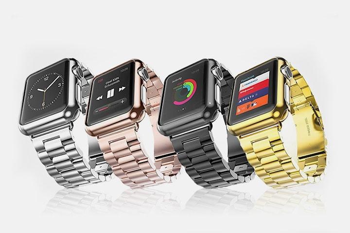 Klokkerem til Apple Watch i rustfritt stål + beskyttelsesdeksel