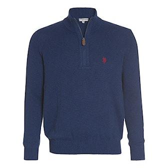 Jeans Blå, L, US Polo Zip Pullover, US Polo zip genser, ,