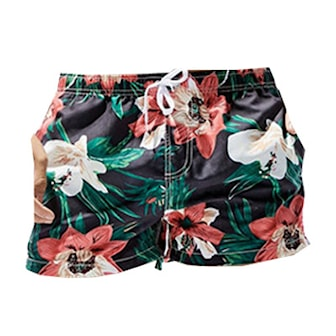 M, Flowers Black, Men's Swimming Shorts Flowers, Badeshorts til menn, ,