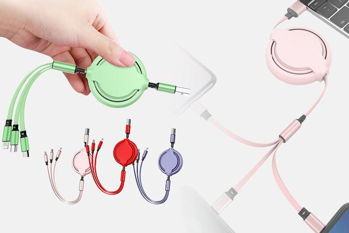 Utdragbar USB-kabel med 3 olika ingångar