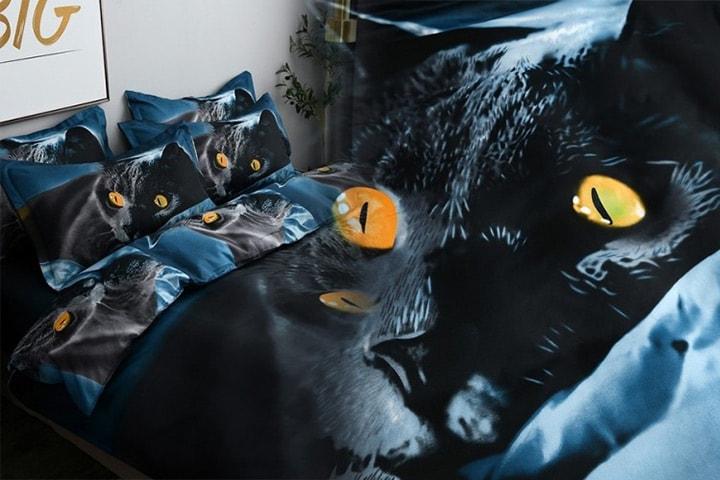 Sengesett med katteprint