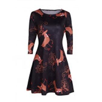Brown/Deer, L, Christmas Long Sleeve Dress, Långärmad klänning med julmotiv,