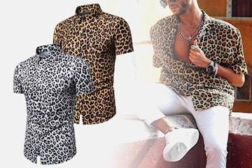 Leopardmønstret skjorte til herre