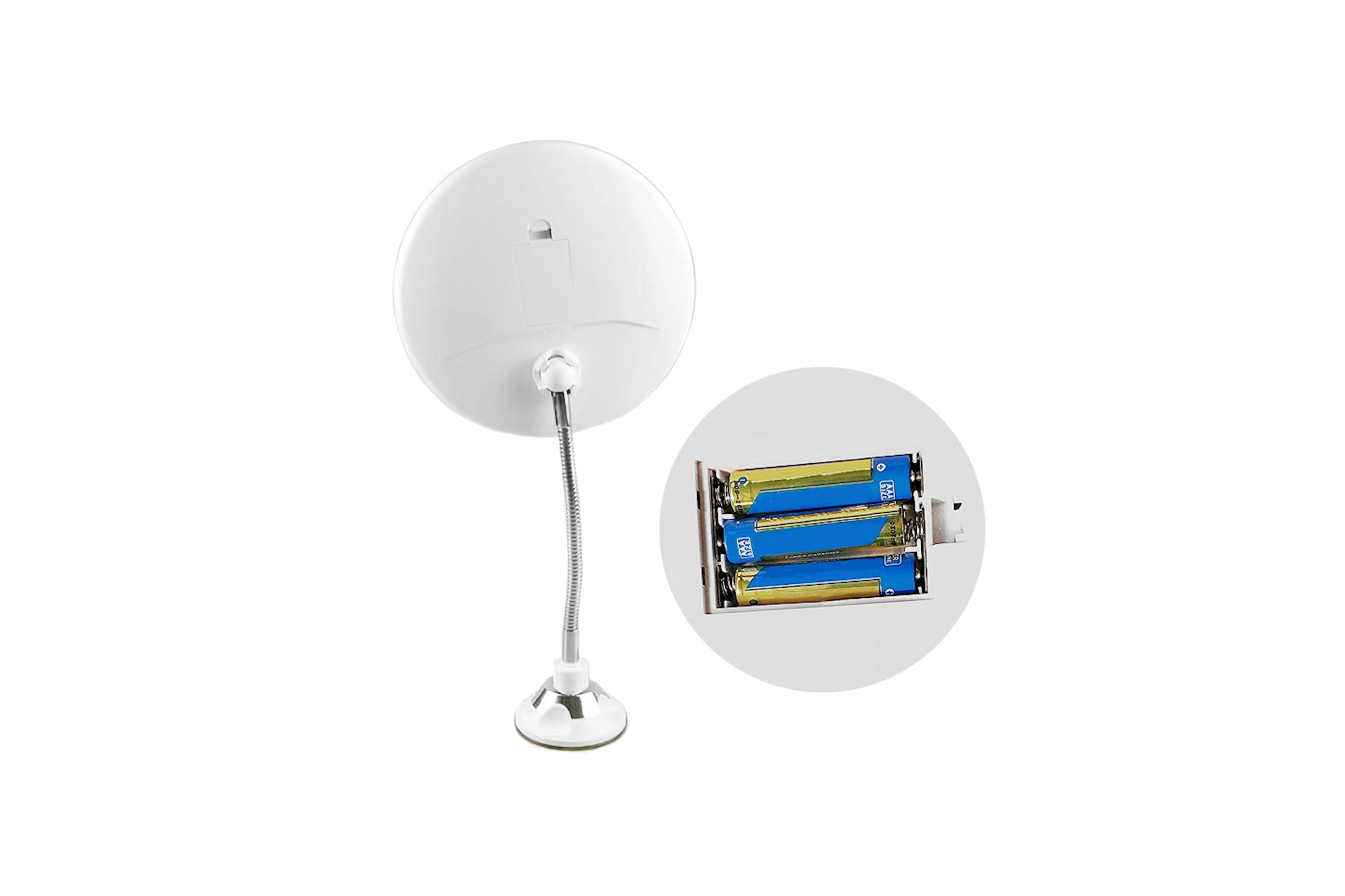 Sminkespeil forstørrelsesfunksjon og LED-lys