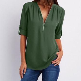 Militærgrønn, M, V-Neck Zip Blouse, Bluse med V-hals, ,