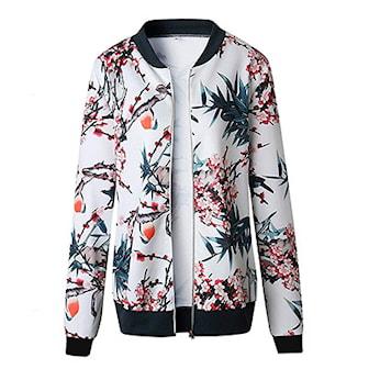 Vit, M, Bombers Jacket with Flowers, Bomberjacka, ,
