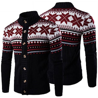 Svart, L, 2, Men's Xmas Sweater, Julegenser med krage, ,