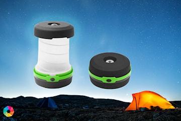 Sammenleggbar campinglampe med LED-lys