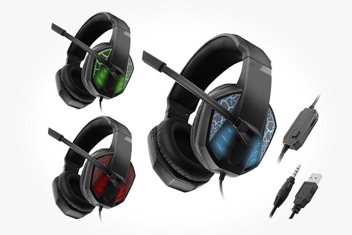 Gaming headset med LED-ljus