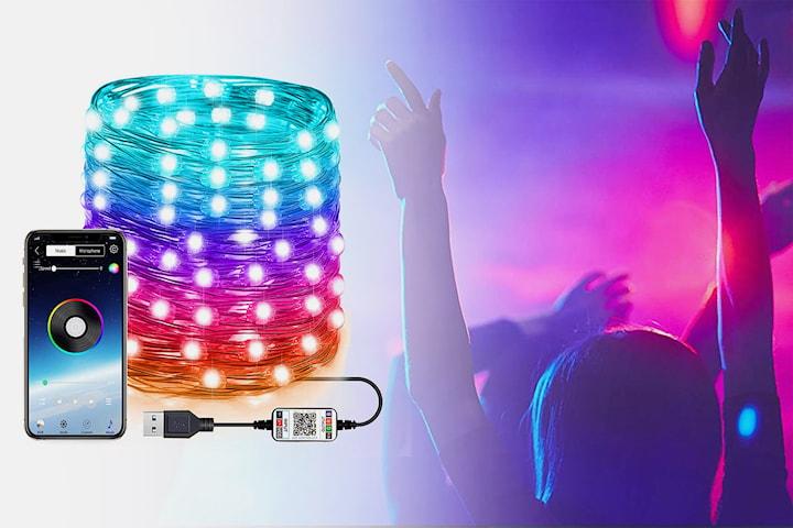 LED-lysslynge synkroniseres med musikk