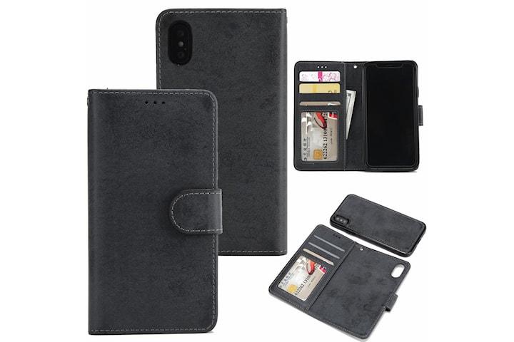 Suede magnetfodral för iPhone XR med magnetlås.