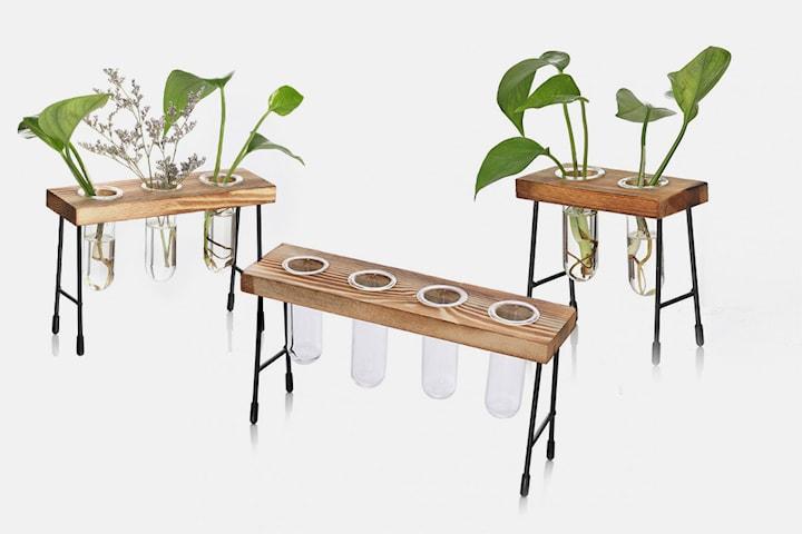 Rørformede blomstervaser med trestativ