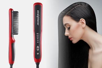 Rettetang med børste til håret