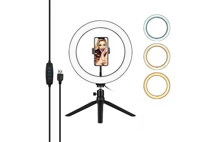 Selfielampa / Ring light, 26 cm med stativ och mobilhållare