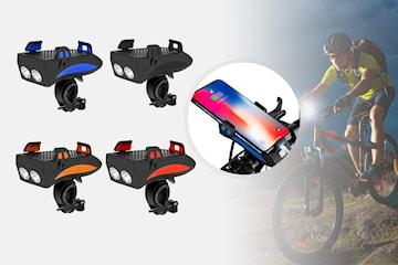 4 i 1 sykkellys og mobilholder