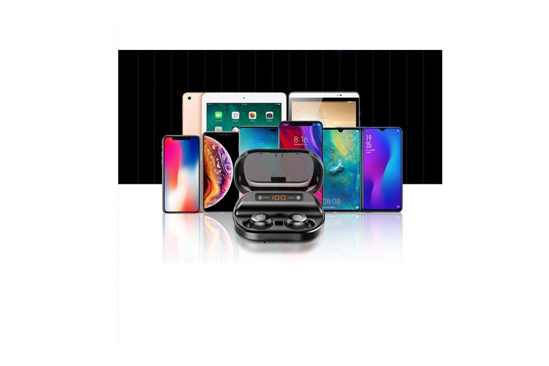 Earbuds med ladeetui og mobil/tablet holder