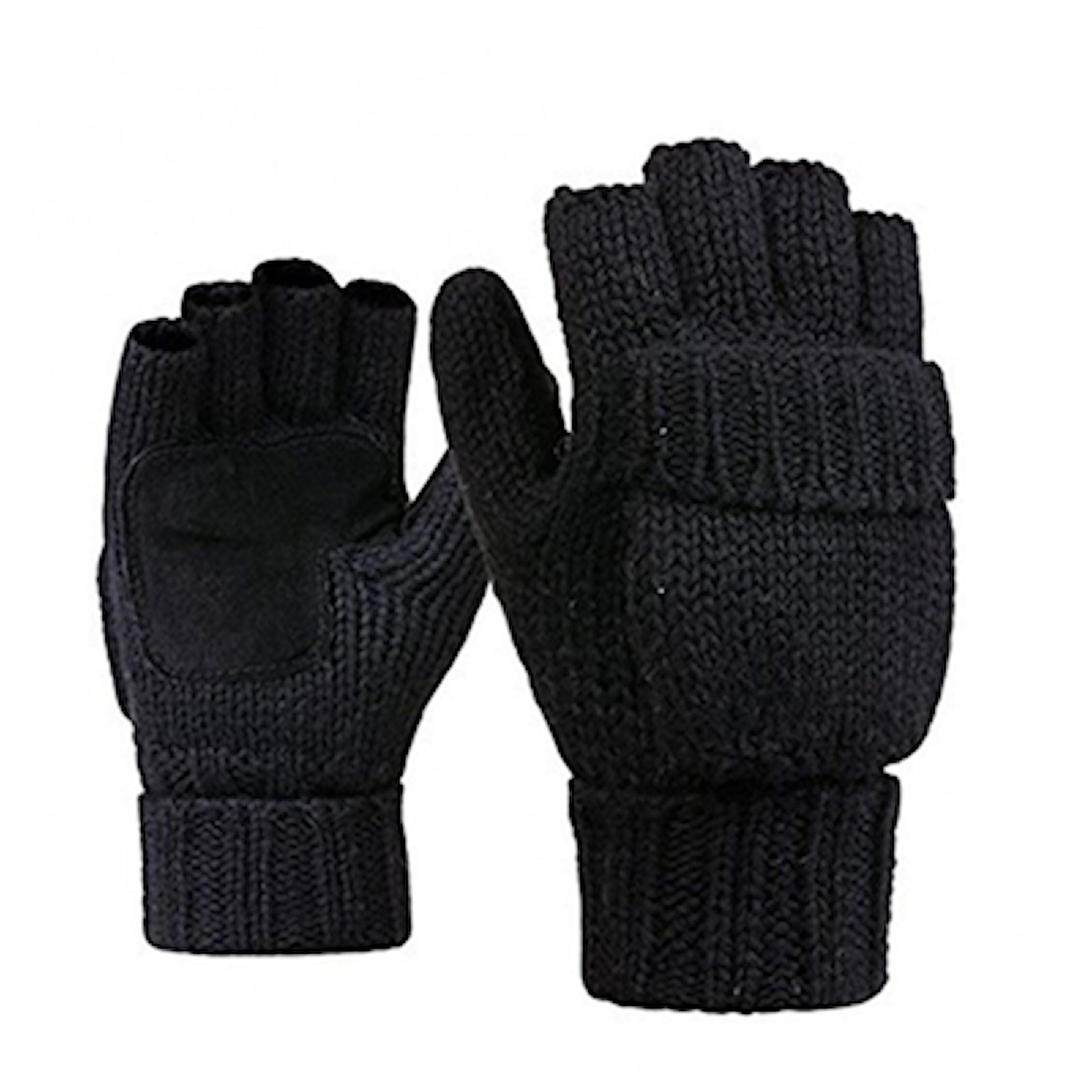 Svart, Fingerless gloves for men, Fingerløse votter, ,