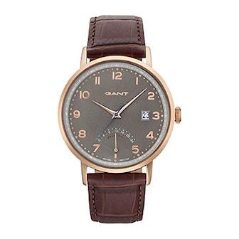 GT022004, GT022004, Armband: brun, läder. Urtavla: grå, rostfritt stål. Mått: 41,5 mm,