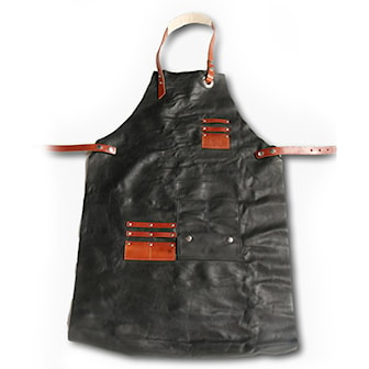 Svart/Tan, Luxury Apron in Genuine Leather, 4 Different Colors, Förkläde i äkta läder, ,