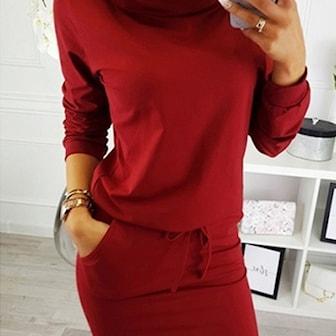 Rød, XL, High Neck Tie Waist Jumper Dress, Kjole med høy hals, ,