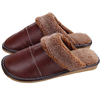 Brun, 41-42, Leather Slippers, Lädertofflor, ,