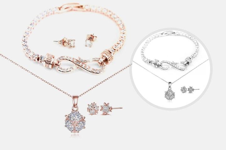 Melia smykkesett med Swarovksi-krystaller