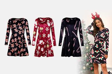 Langermet kjole med julemotiv