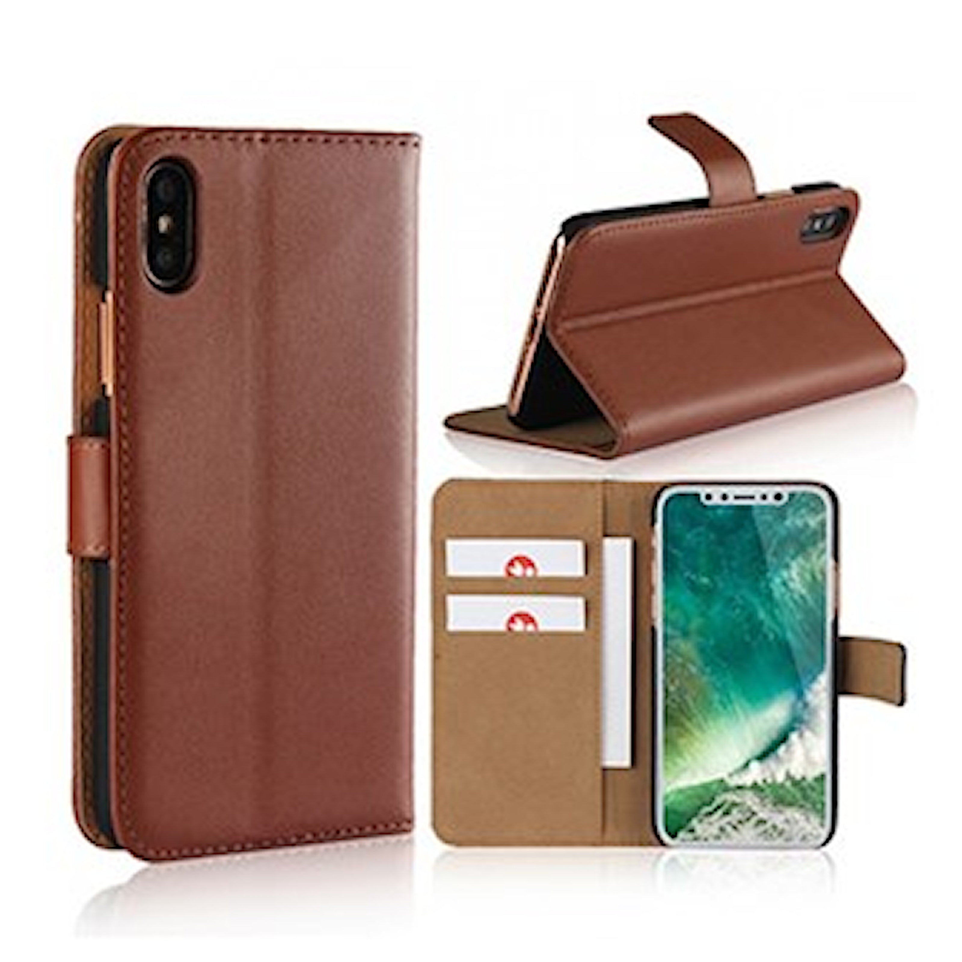 Brun, iPhone X/Xs, iPhone Wallet Cover, iPhone-lommebok, ,