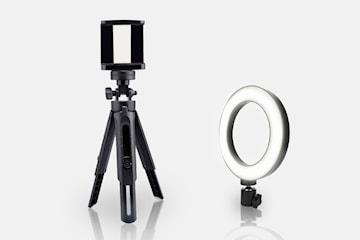 Fotolampa och stativ för telefon