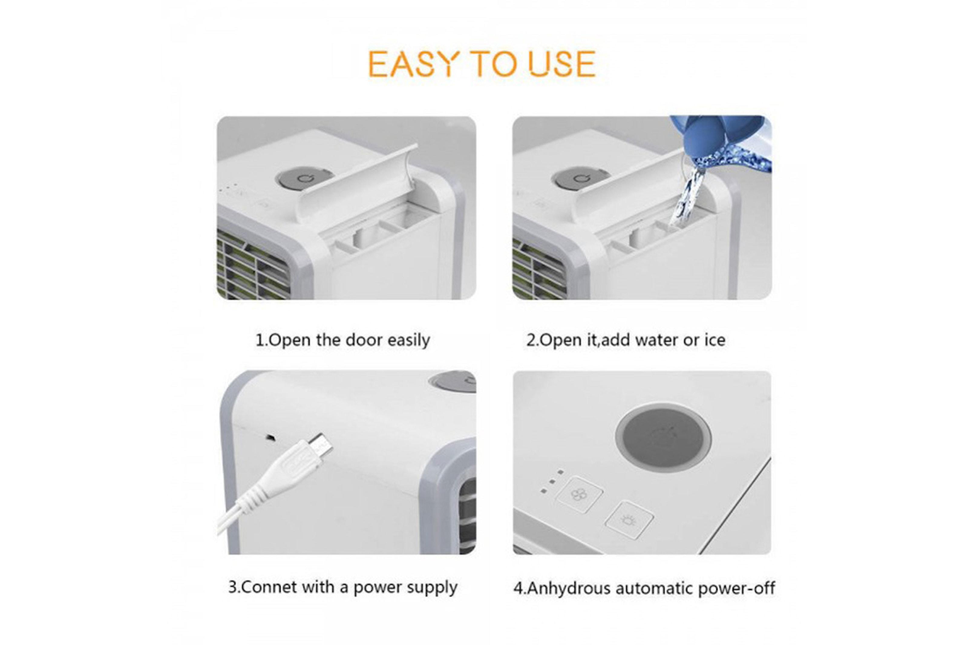 Liten og bærbar luftkjøler og luftfukter