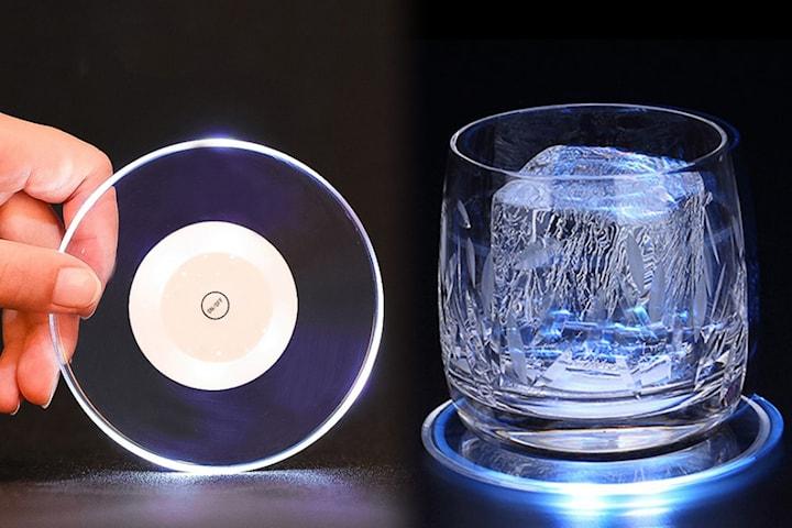 Glasunderlägg med LED-ljus
