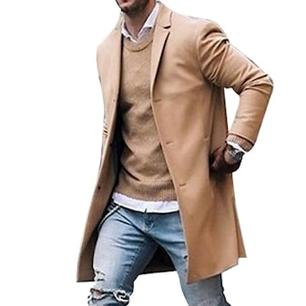 Khaki, M, Mens Brand Fleece blends Jacket, Herrefrakk, ,
