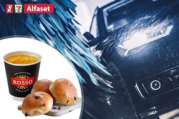 Bilvask hos YX 7-Eleven Alfaset, inkl. tre boller og kaffe
