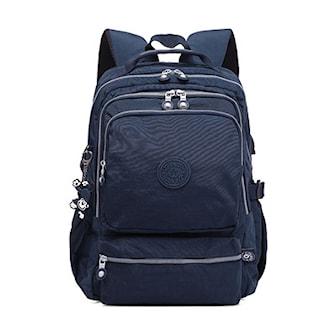 Blå, Backpack USB-port, Ryggsäck med USB-port, ,