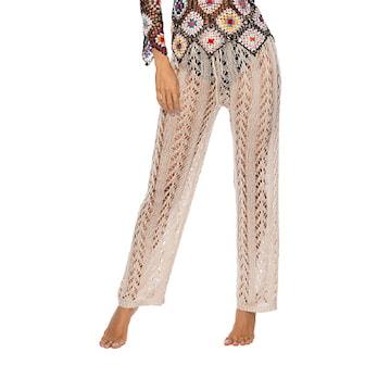 Beige, Wide Crocheted Beach Pants, Sommarbyxor, ,