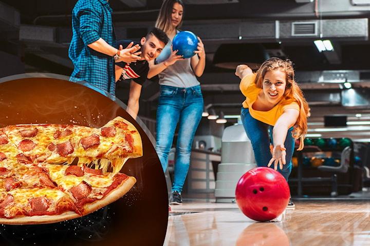 To runder bowling og pizza for opptil 10 personer