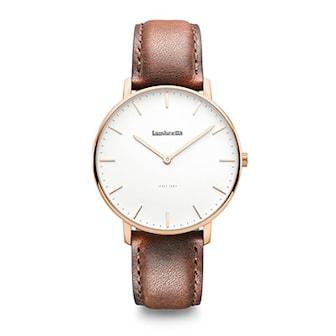 2222BRO, Vintage inspired classic ladies and mens watches with genuine leather strap from Lambretta Watches, Lambretta dam- och herrklockor, Urtavla: 40 mm. Armband: Äkta italienskt läder,