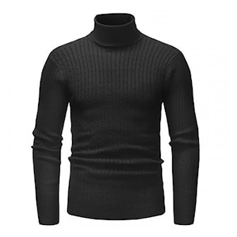 Svart, L, Ribbed Turtleneck Sweater for Men, Polotröja i herrmodell, ,